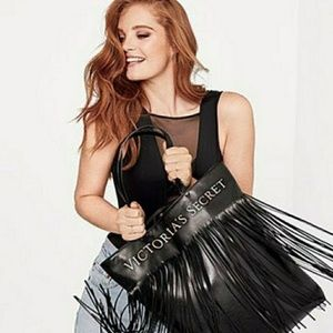 Victoria's Secret Black Faux Leather Fringe Tote